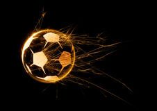 Sfera di calcio ardente Fotografie Stock