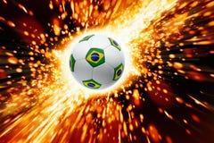 Sfera di calcio Burning fotografia stock libera da diritti