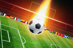 Sfera di calcio Burning Immagine Stock