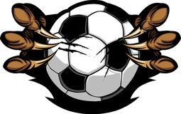 Sfera di calcio con l'immagine delle matrici dell'aquila Immagini Stock