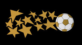 Sfera di calcio con le stelle Fotografia Stock