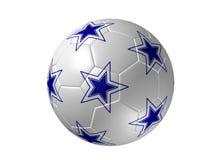 Sfera di calcio con le stelle, azzurro isolato Fotografia Stock