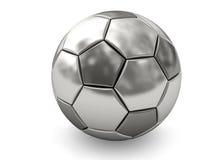 Sfera di calcio del platino o dell'argento su bianco Fotografia Stock Libera da Diritti