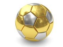 Sfera di calcio dell'oro su priorità bassa bianca Fotografie Stock