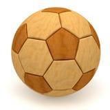 Sfera di calcio di legno su bianco Fotografia Stock Libera da Diritti