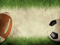 Sfera di calcio e di football americano Fotografia Stock Libera da Diritti