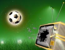 Sfera di calcio e TV Fotografia Stock