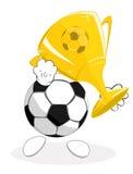 Sfera di calcio il vincitore con il trofeo Immagine Stock