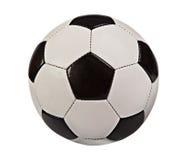 Sfera di calcio isolata su priorità bassa bianca Fotografia Stock