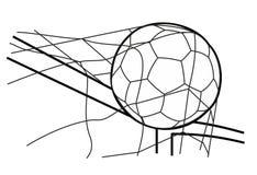 Sfera di calcio nella rete di obiettivo Illustrazione nera di vettore su fondo bianco bianco Immagine Stock Libera da Diritti