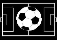 Sfera di calcio sopra la disposizione del campo Immagine Stock Libera da Diritti