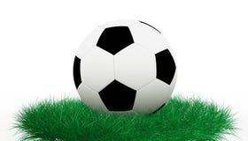 Sfera di calcio su erba Fotografie Stock Libere da Diritti