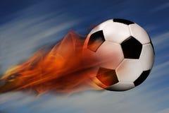 Sfera di calcio su fuoco Fotografia Stock