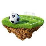 Sfera di calcio sul campo, sulla zona di pena e sull'obiettivo basati Fotografie Stock Libere da Diritti