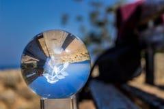 sfera di cristallo su un banco Fotografia Stock Libera da Diritti