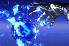 Sfera di fuoco blu Fotografia Stock