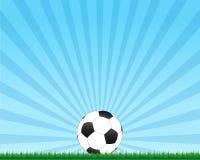 Sfera di gioco del calcio su erba Fotografie Stock