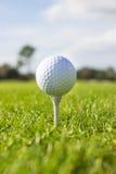 Sfera di golf bianca sul T Fotografia Stock Libera da Diritti