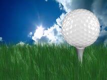 Sfera di golf bianca sul T in erba Immagini Stock