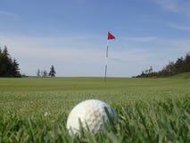 Sfera di golf che attende per essere attaccato fotografia stock