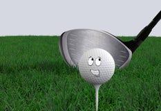 Sfera di golf del fumetto Fotografia Stock Libera da Diritti