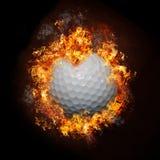 Sfera di golf del fuoco Fotografie Stock Libere da Diritti