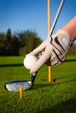 Sfera di golf della stretta della mano Fotografia Stock Libera da Diritti