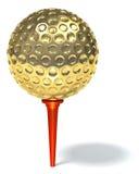 Sfera di golf dorata Fotografia Stock Libera da Diritti