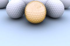 Sfera di golf dorata Immagine Stock Libera da Diritti