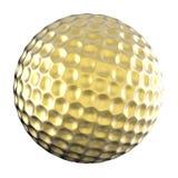 Sfera di golf dorata isolata su bianco Fotografie Stock