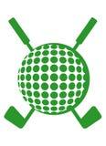 Sfera di golf e randelli attraversati Fotografia Stock Libera da Diritti
