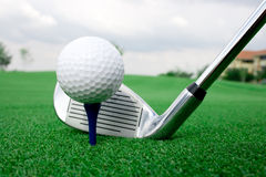 Sfera di golf e schermo di punto di vista del randello Fotografie Stock Libere da Diritti