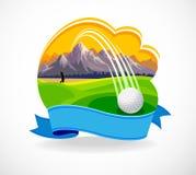 Sfera di golf e un bello club di golf Fotografie Stock Libere da Diritti