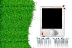 Sfera di golf ed erba verde con il vecchio blocco per grafici della foto Immagine Stock Libera da Diritti
