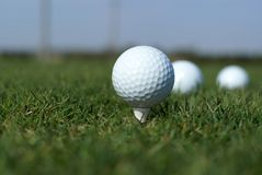 Sfera di golf in erba verde alta Fotografia Stock Libera da Diritti