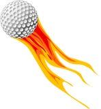 Sfera di golf in fuoco Fotografie Stock