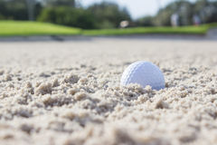 Sfera di golf nel separatore di sabbia Immagini Stock Libere da Diritti