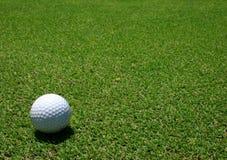 Sfera di golf nel verde fotografia stock