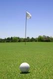 Sfera di golf nel verde Fotografie Stock