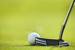 Sfera di golf su erba immagine stock libera da diritti