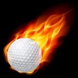 Sfera di golf su fuoco Fotografia Stock