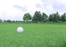 Sfera di golf su un verde Fotografia Stock