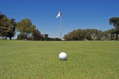 Sfera di golf su verde mettente immagini stock