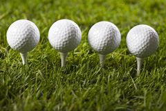 Sfera di golf sul T in erba fotografia stock libera da diritti