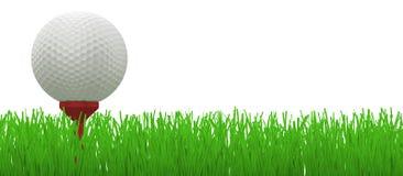 Sfera di golf sul T rosso in erba - Fotografia Stock Libera da Diritti