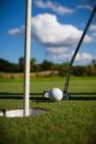 Sfera di golf sul verde Immagini Stock Libere da Diritti