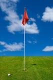 Sfera di golf sul verde mettente Immagine Stock