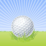 Sfera di golf sul vettore a macroistruzione verde Fotografie Stock