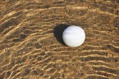 Sfera di golf in un rischio dell'acqua Immagine Stock Libera da Diritti