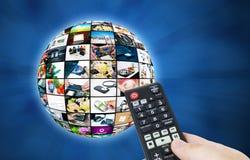 Sfera di multimedia di radiodiffusione della televisione Immagini Stock Libere da Diritti